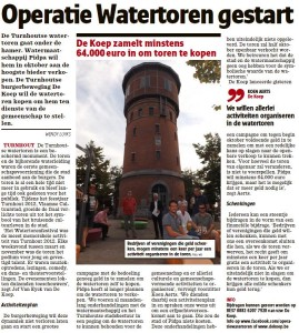Operatie Watertoren in Het Nieuwsblad van 7 september 2013